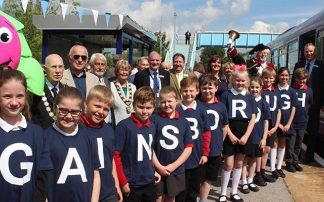 Pupils from Parish Church Primary School on the platform at the launch event for the new hourly service