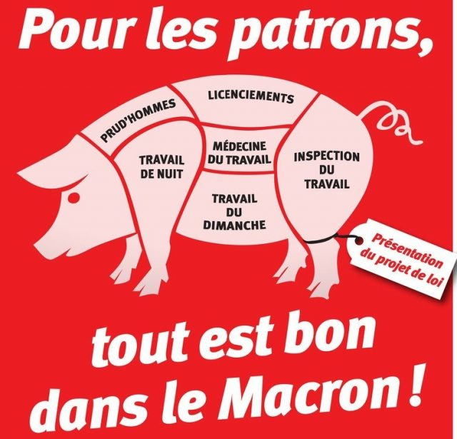 French cartoon on Macron's laws