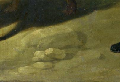 """Fig. 6b-Detalle del suelo en """"La Partida de caza"""" de Goya."""