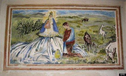 """""""Aparición de la Virgen a un pastor"""" Cartuja de las Fuentes en Sariñena, tras la intervención"""