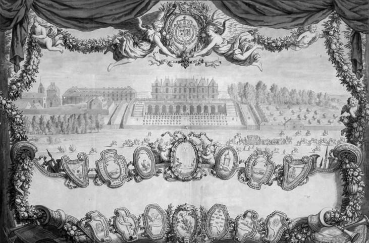 Israel Silvestre- Frontispicio. Vista del Palacio de Versalles en 1664.