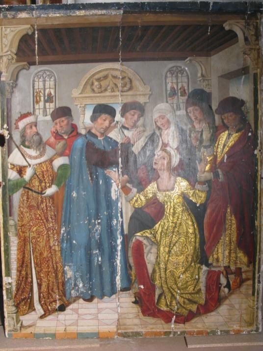 Tabla Hispanoflamenca s. XV en proceso de restauración.