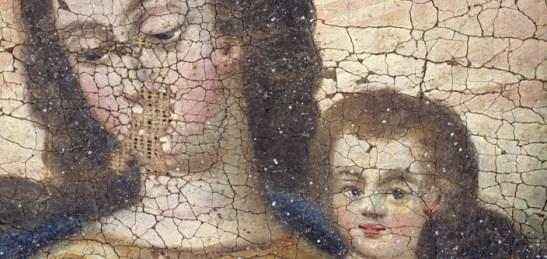 Anónimo: La Virgen con el niño (Craquelado y pérdida de estrato pictórico).