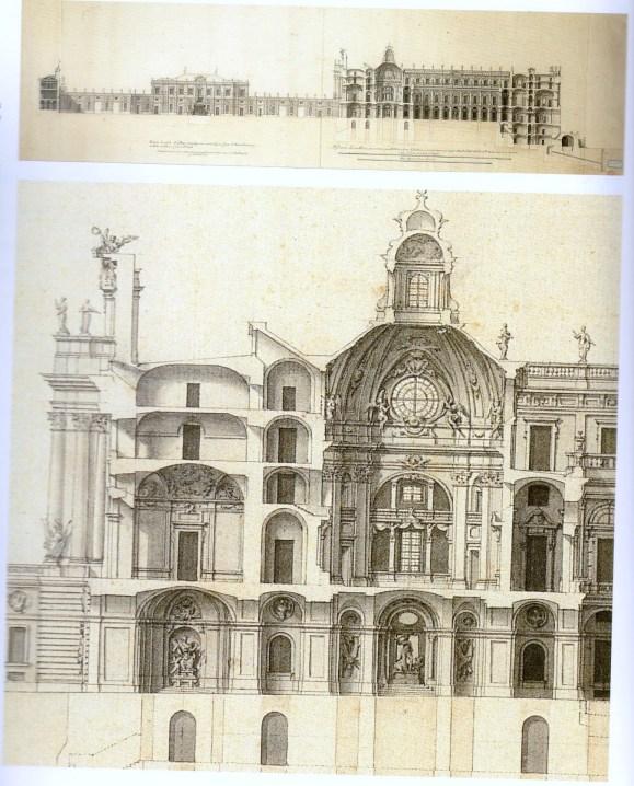 Juan Bautista Sachetti: Primer proyecto del Palacio Real, Sección y detalle de la capilla en el lado Sur. Archivo General de Palacio, Madrid.