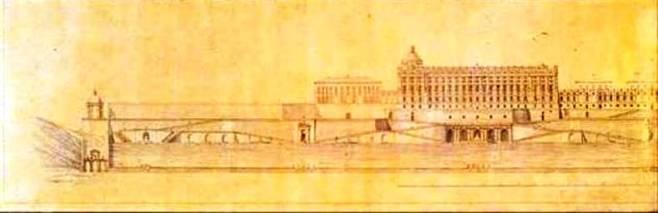 Juan Bautista Sachetti: Proyecto de desarrollo de las inmediaciones del Palacio Real de Madrid desde el Campo del Moro.