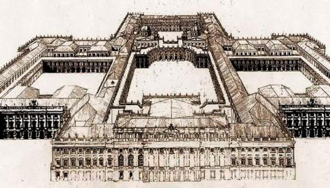 Filippo Juvarra: Alzado del proyecto para el Palacio Real de Madrid.