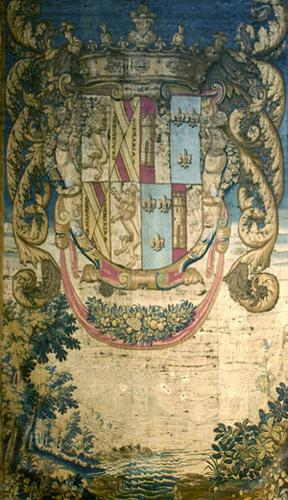 Tapiz con las armas de Silva Mendoza y de la Cerda, manufactura Pastrana, siglo XVII. Museo Cerralbo, Madrid.