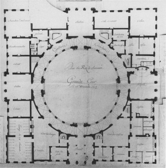 Robert de Cotte: Planta del palacio de Poppelsdorf, 1716.
