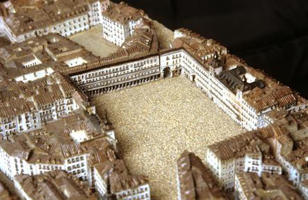 Detalle de la Plaza Mayor en la Maqueta de León Gil de Palacio, ca. 1830. Foto: @Unsereno