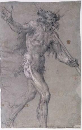 Vicente Carducho: Demonio, 1632. Lápiz negro y realces de albayalde sobre papel verjurado azul, 410 x 261 mm. Madrid, Biblioteca Nacional de España, DIB/13/1/56.