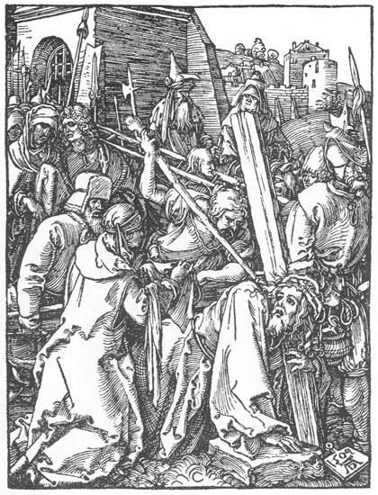 """Alberto Durero: Cristo camino del Calvario. Grabado perteneciente al ciclo de la """"Pequeña Pasión""""."""