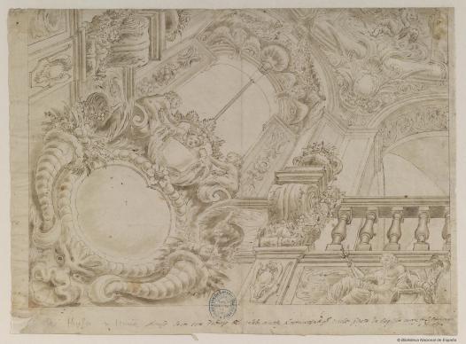 Sebastián Muñoz: Modelo para la realización al fresco de un techo. Madrid, Biblioteca Nacional.