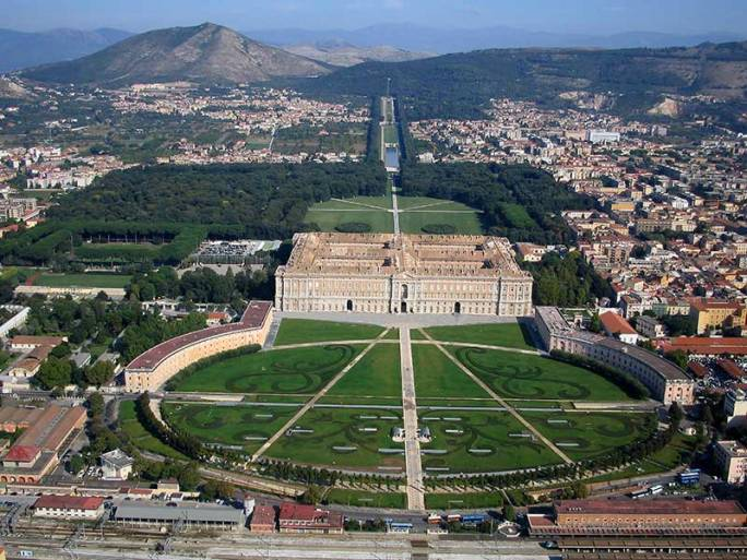 Vista aérea de la Reggia di Caserta. Luigi Vanvitelli