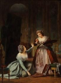 Alexis-Joseph Pérignon: María Antonieta recogiendo los pinceles de Madame Vigée Le Brun, 1784. Realizado hacia 1859. New Orleans Museum of Art, Gift of Joseph Baillio (2010.150).