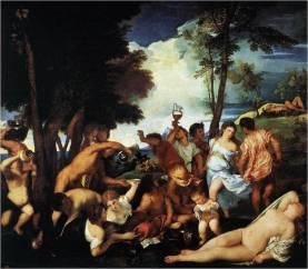 Tiziano: Bacanal de los andrios. 1523-24 Óleo sobre lienzo, 175 x 193 cm., Museo del Prado, Madrid.