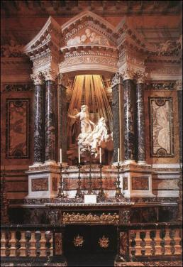 Gian Lorenzo Bernini: Éxtasis de Santa Teresa. Capilla Cornaro, Sta. María de las Victorias. Roma (vista del altar)