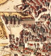 Alcázar de Madrid en el plano de Witt, ca. 1626, con el proyecto original de Gómez de Mora.