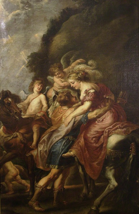 Juan Bautista Martínez del Mazo copiando a Pedro Pablo Rubens: Dido y Eneas. Madrid, Museo Nacional del Prado.