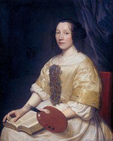 Wallerant Vaillant: Retrato de Maria van Oosterwijck, 1671. Rijksmuseum, Amsterdam.