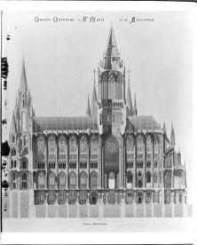 Sección del proyecto de Catedral de la Almudena. Foto: IPCE archivo Ruiz-Vernacci.