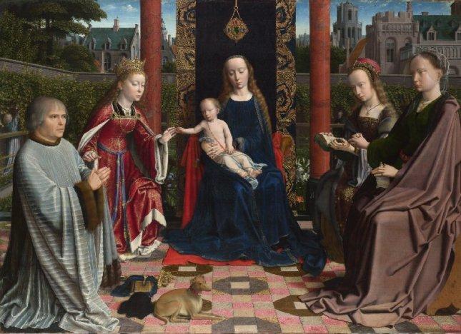 Gerard David: La Virgen con el Niño, con santos y donantes, ca. 1510. National Gallery, Londres.