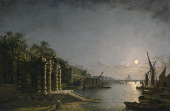York Water Gate and the Adelphi from the River by Moonlight, por Henry Pether, circa 1850. foto: wikipedia.
