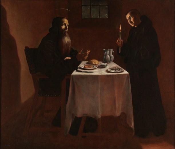 Fray Juan Andrés Rizi, La cena de San Benito. Museo del Prado.