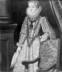 Bartolomé González: Retrato de la archiquesa Catalina Renata, cuñada de Felipe III. Depositado por R.O en la Embajada de España en Lisboa en 1919. Desaparecido.