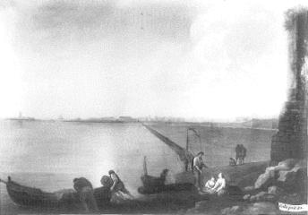 Mariano Sánchez: Vista de Cádiz por el sur. Depósito del Patrimonio Nacional en la Embajada de España en Lisboa. Desaparecido.