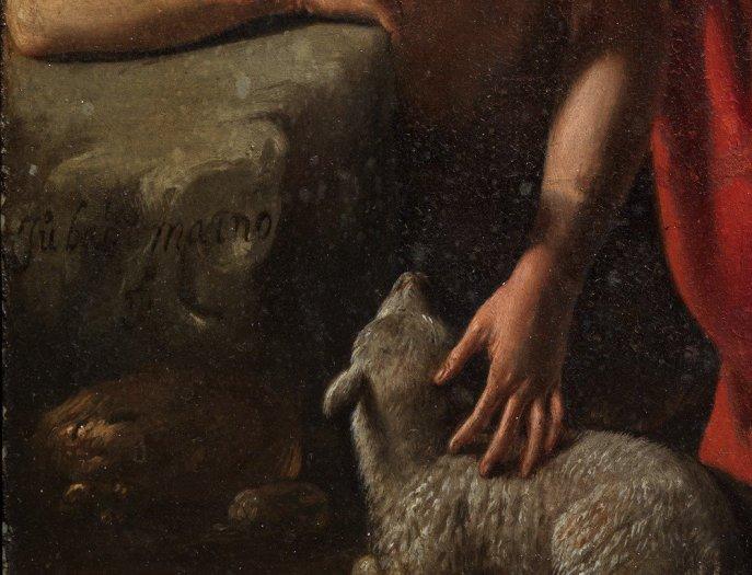 Juan Bautista Maíno. San Juan Bautisa (detalle de la firma). Museo del Prado. Foto: Ars Magazine