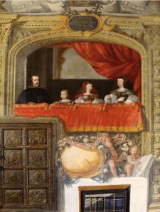Imagen del balcón real en la escalera de las Descalzas Reales. Foto: Artículo de Miguel Morán Turina señalado en texto.