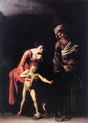 Caravaggio. Madonna de los palafreneros. Galería Borghese. Roma. Foto: wikipedia.