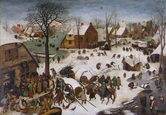 """Pieter Brueghel """"El Viejo"""". El censo de Belén. 1566. Museos reales de Bellas Artes de Bélgica, Bruselas. (Foto; wikipedia)"""