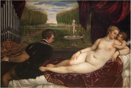 Tiziano: Venus recreándose con el Amor y la Música, ca. 1555. Madrid, Museo Nacional del Prado.