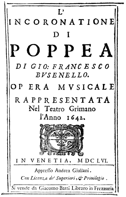 Portada del Libreto: La Incoronatione di Poppea. Foto: Wikimedia Commons.