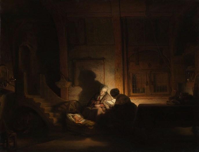 Rembrandt: La sagrada familia por la noche