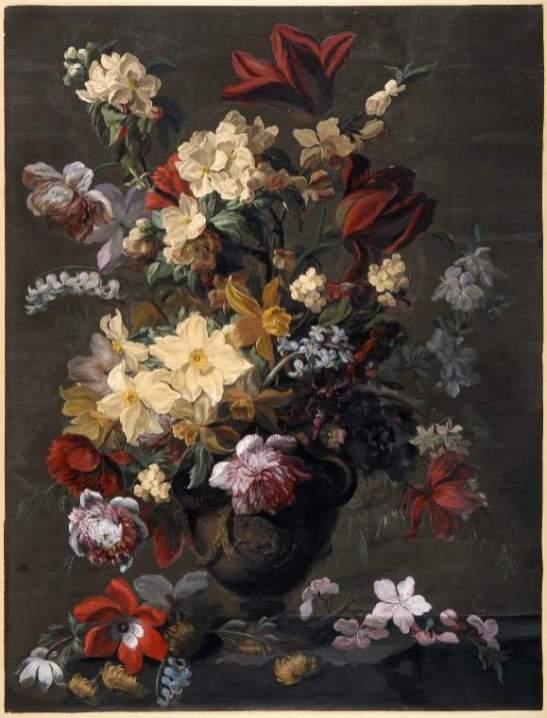 Mary Moser: Flores en un jarrón y desparramados por la mesa. Acuarela. Cambridge, Fitzwiliam Museum of Art
