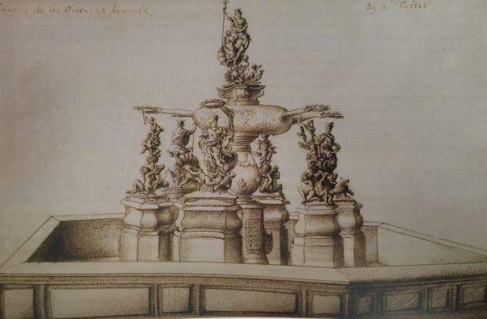Fuente de los Dioses o de Neptuno, en el Jardín de la Isala de Aranjuez. Diario del Conde de Sandwich, Mapperton House, Dorset, Inglaterra.