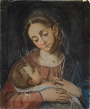 María Luisa Carranque y Bonavía (1753 - ¿?): Virgen con el Niño en brazos, Siglo XVIII, 47x39cm. Madrid, Real Academia de Bellas Artes de San Fernando.