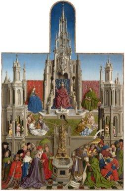 Jan van Eyck (taller). La fuente de la Gracia. Museo del Prado.