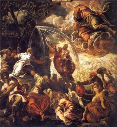 Tintoretto: Milagro de Moisés y el agua en la roca, 1575-1577. Venecia, Scuola San Rocco. Foto: wikipedia.