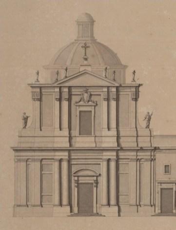Marcelo Fontón, Detalle de la fachada de la iglesia en el alzado de la Accademia di San Luca.