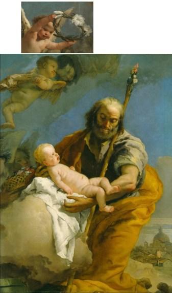 Fragmentos del lienzo original: en el Detroit Institute of Arts, San José con el Niño Jesús, y en el Museo Nacional del Prado, Ángel con corona de azucenas.