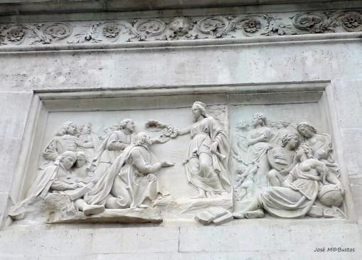 Francisco Elías: Alegoría de la protección que Felipe IV dispensó a las artes y las letras, 1843. Imagen: Blog Miradas de Madrid http://miradasdemadrid.blogspot.com/2019/02/curiosidades-de-madrid-14-la-estatua.html