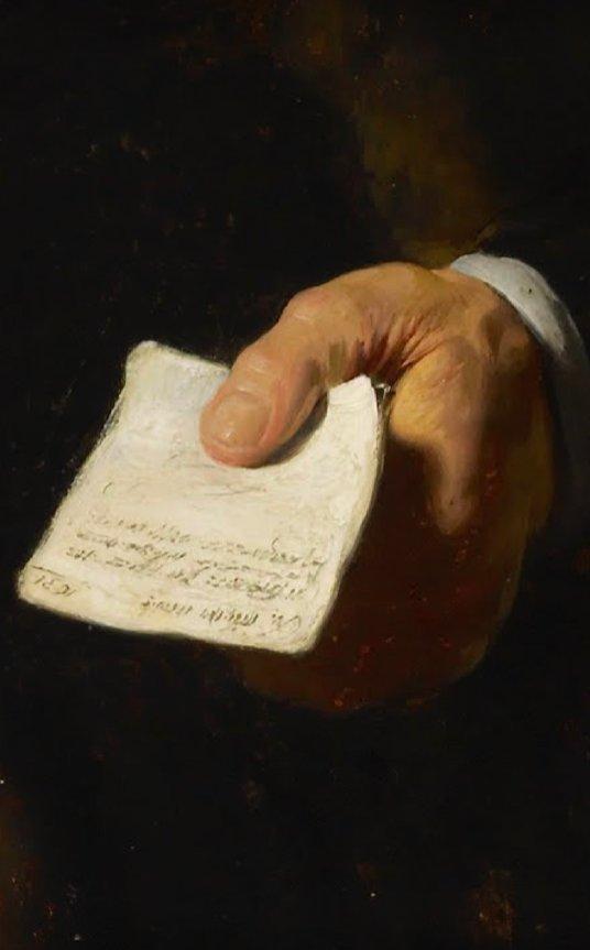 Rembrandt van Rijn: Detalle de la mano en el retrato de Nicolaes Ruts,1631. Óleo sobre caoba. Nueva York, The Frick Collection.