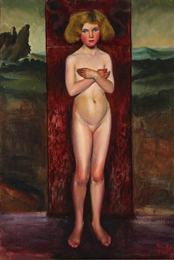 María Roësset, Desnudo de Niña con brazos cruzados, 1913. La Coruña, Museo de Bellas Artes.