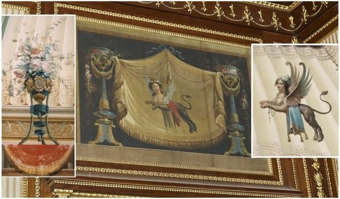 Cotejo de las pinturas del despacho de Godoy con jarrones y esfinges de Duque en el Palacio Real y Real Casa del Labrador de Aranjuez. Fuentes: © Patrimonio Nacional y madrida360.es