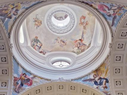 Cúpula y pechinas del Oratorio del Caballero de Gracia en la actualidad. Foto: caballerodegracia.org