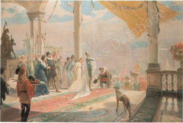 Julio Borrell, Llegada de Sancho a la Isla Barataria, 1898. Óleo sobre lienzo 98,5 x 141,5 cm. Fuente: Durán 1992.
