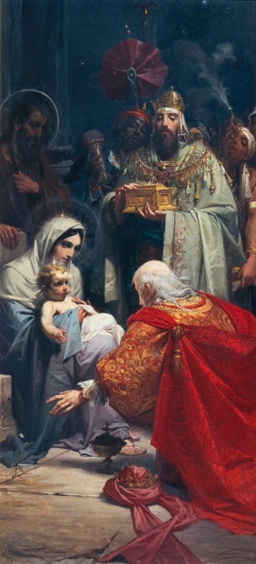 Julio Borrel, La Epifanía, 1896. Óleo sobre lienzo, 250 x 119 cm. Barcelona, Museu Nacional d'Art de Catalunya.